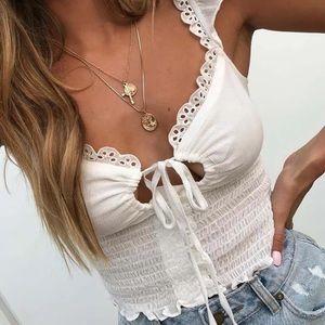 'Elisabeth' Crop Top - White